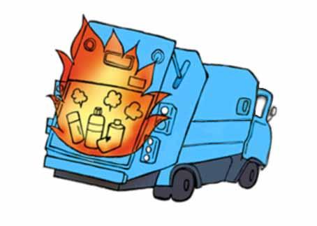 スプレー缶によるごみ収集車の火災イメージ