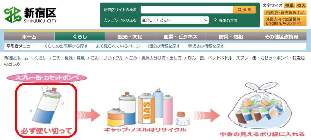 新宿区:スプレー缶のごみ出し方法