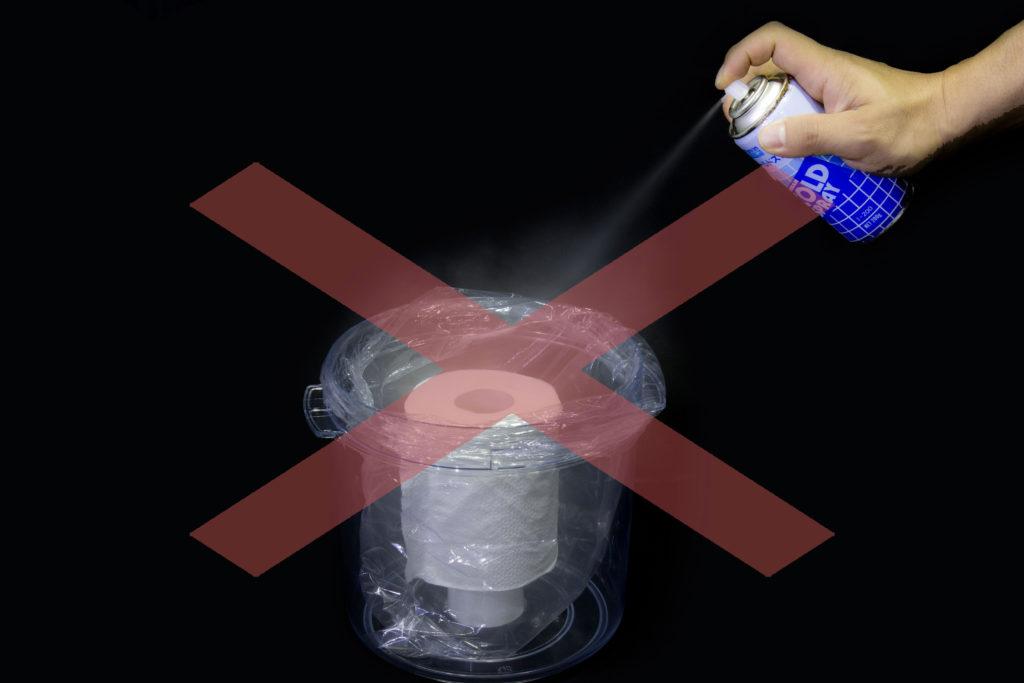 スプレー缶の中身出し:ダメな例