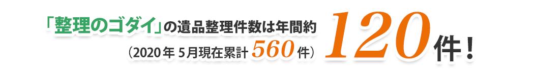 「整理のゴダイ」の作業実績は年間約500件!(2016 年10 月現在累計1,100 件)